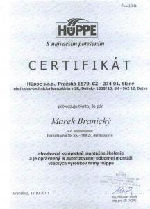 Certifikát Huppe